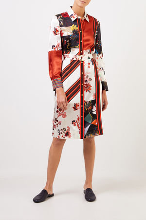 Tory Burch  - Hemdblusenkleid mit Patchwork Multi