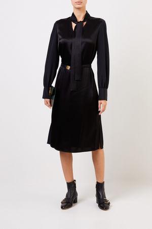 Tory Burch  - Kleid mit Schleifendetail und Gürtel Schwarz