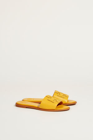 Tory Burch  - Leder-Sandale 'Ines' mit Logo Gelb