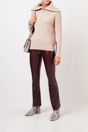 Tory Burch  - Woll-Cashmere-Pullover mit breitem Kragen Beige