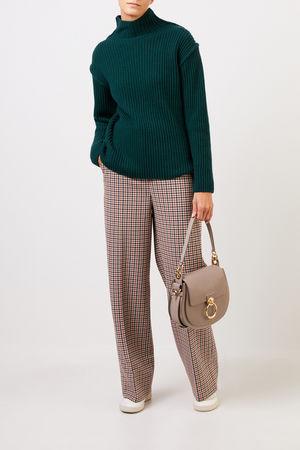 Tory Burch  - Woll-Cashmere-Pullover mit Turtleneck Grün