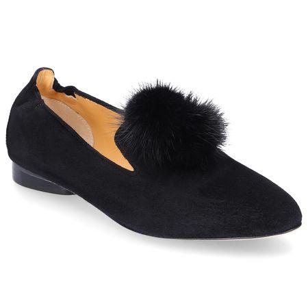 Truman's  Ballerinas 8858 Veloursleder Bommel schwarz schwarz
