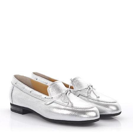 Truman's Loafer Glattleder Hirschleder Zierschnürung silber grau
