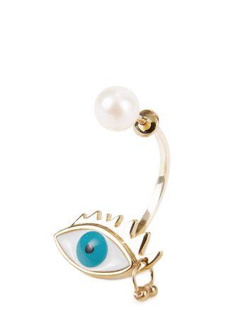 Delfina Delettrez  - Ohrring 'Eye Piercing' Gold/Türkis braun