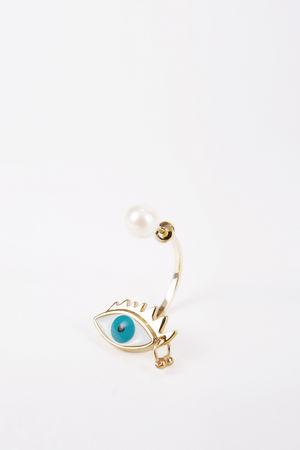 Delfina Delettrez  - Ohrring 'Eye Piercing' Gold/Türkis grau