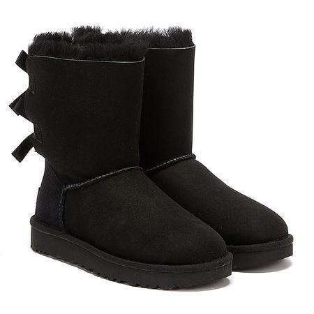 UGG  Bailey Bow II Schwarze Damen Schaffellstiefel