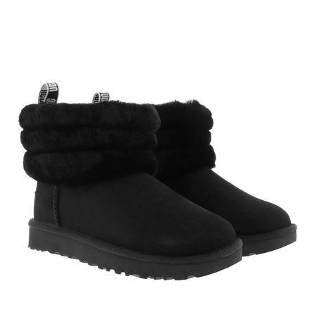 UGG  Boots  -  W Fluff Mini Quilted Black  - in schwarz  -  Boots für Damen schwarz