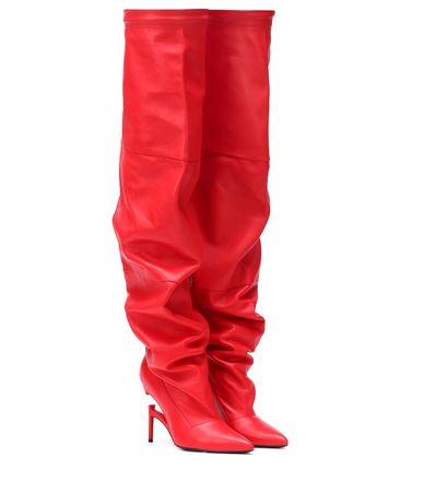 Unravel Overknee-Stiefel aus Leder rot