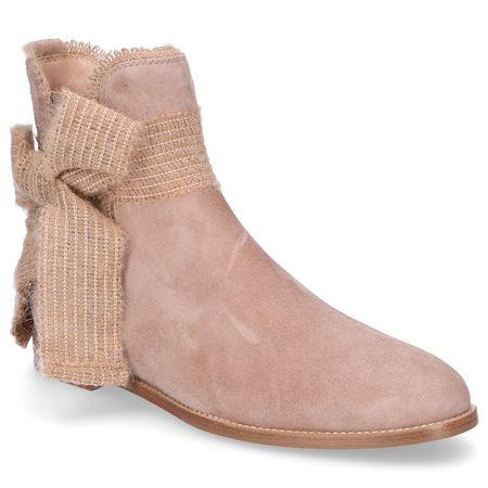 Unützer  Chelsea Boots 8504 Veloursleder Schleife beige braun
