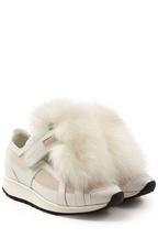 Pierre Hardy Plateau-Sneakers aus Leder mit Fuchsfell