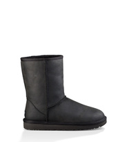 UGG Classic Short Leather Boot Damen Schwarz 36