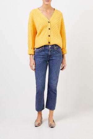 Uzwei  - Cashmere-Cardigan mit Zopfmuster Gelb 100% Cashmere
