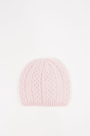 Uzwei  - Cashmere-Mütze mit Zopfmuster Rosé 100% Cashmere