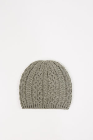 Uzwei  - Cashmere-Mütze mit Zopfmuster Salbei 100% Cashmere
