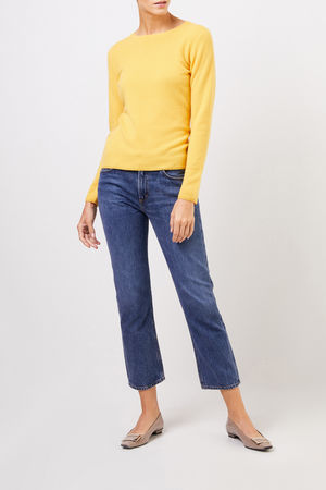 Uzwei  - Cashmere-Pullover mit R-Neck Gelb 100% Cashmere