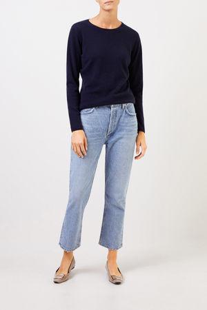 Uzwei  - Cashmere-Pullover mit R-Neck Marineblau 100% Cashmere