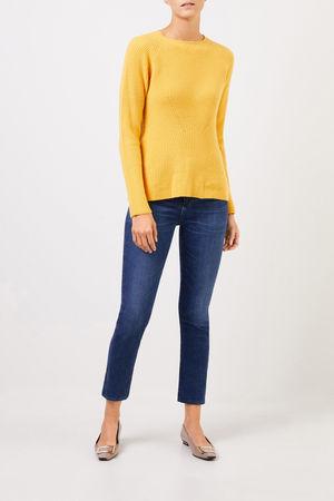 Uzwei  - Cashmere-Pullover mit Strickdetail Gelb 100% Cashmere