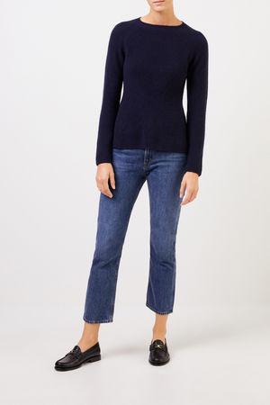 Uzwei  - Cashmere-Pullover mit Strickdetail Marineblau 100% Cashmere