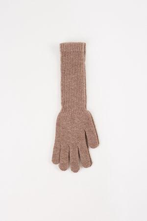 Uzwei  - Lange Woll-Cashmere-Handschuhe Taupe