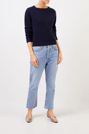 Uzwei  - Rippstrick-Cashmere-Pullover Marineblau 100% Cashmere