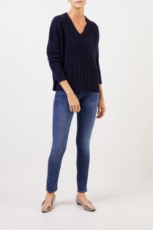 Uzwei  - V-Neck Cashmere-Pullover mit Zopfmuster Marineblau 100% Cashmere