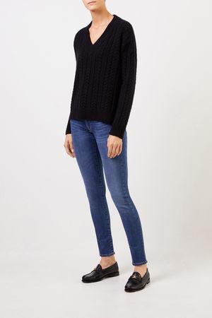 Uzwei  - V-Neck Cashmere-Pullover mit Zopfmuster Schwarz 100% Cashmere