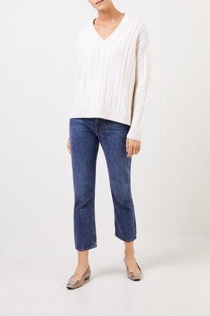 Uzwei  - V-Neck Cashmere-Pullover mit Zopfmuster Weiß 100% Cashmere