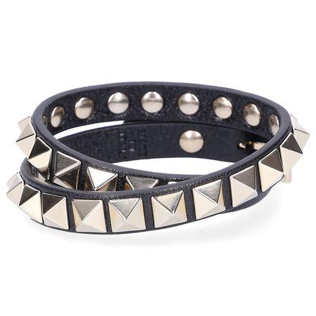 Valentino  Armband ROCKSTUD Kalbleder Nieten gold schwarz grau