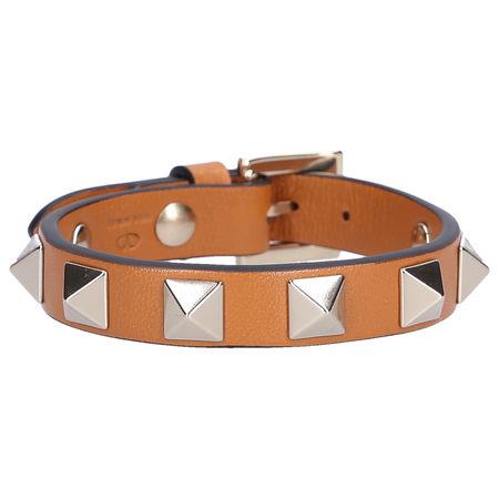 Valentino  Armband ROCKSTUD Kalbsleder Nieten braun orange
