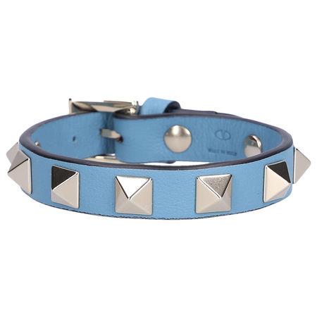 Valentino  Armband ROCKSTUD Kalbsleder Nieten hellblau grau