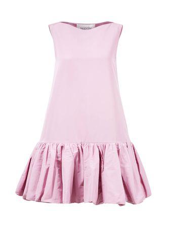Valentino  - Baumwoll-Kleid mit Rüschensaum Rosé rosa