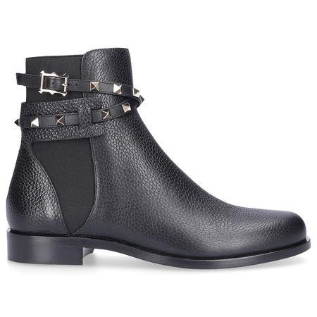 Valentino  Chelsea Boots BEATLE STRAP Kalbsleder Nieten schwarz