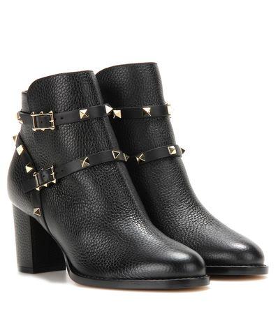 Valentino  Garavani Ankle Boots Rockstud aus Leder grau