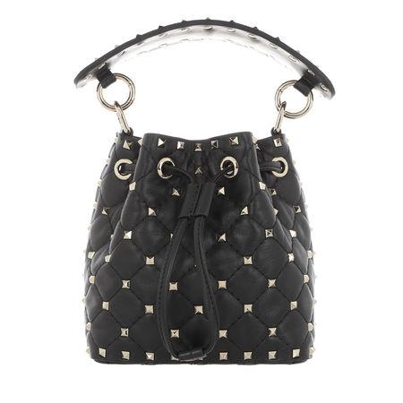 Valentino  Garavani Beuteltasche - Spike Mini Bucket Bag - in schwarz - für Damen grau