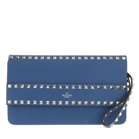Valentino  Garavani Clutches - Rockstud Clutch Leather - in blau - für Damen blau