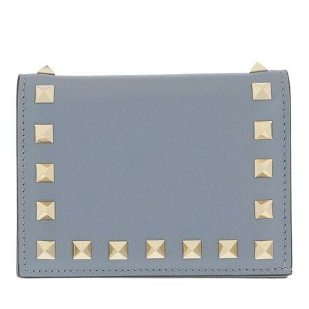Valentino Garavani  Portemonnaie - Rockstud Small Wallet - in light blue - für Damen