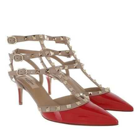 Valentino  Garavani Pumps & High Heels - Rockstud Ankle Strap Patent Pumps - in red - für Damen