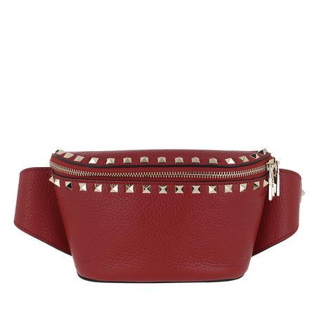 Valentino  Gürteltasche  -  Rockstud Belt Bag Calf Leather Red  - in rot  -  Gürteltasche für Damen braun