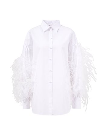 Valentino  - Klassische Bluse mit Federdetails Weiß 100% Baumwolle Details: - Straußenfedern Das Model ist 180 cm und trägt Größe 42 Maße bei Größe 42: - Gesamtlänge: ca. 72 cm - Brustweite: ca. 66 cm Made in Italy grau