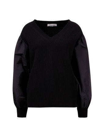 Valentino  - Pullover mit V-Ausschnitt und Popelin-Ärmeln Schwarz schwarz