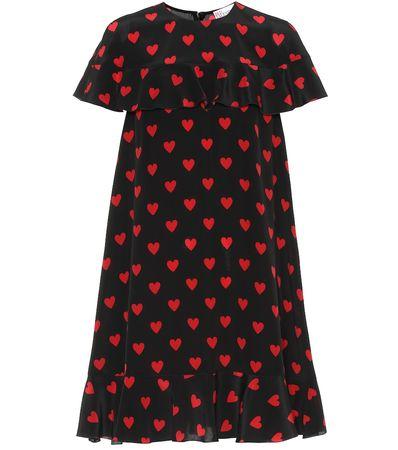 Valentino R.E.D. Bedrucktes Minikleid aus Seide schwarz