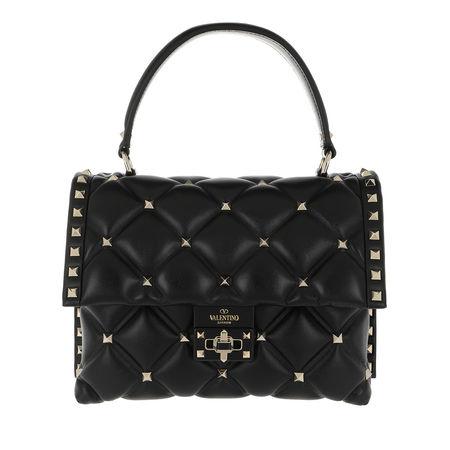 Valentino  Satchel Bag  -  Candystud Shoulder Bag Leather Black  - in schwarz  -  Satchel Bag für Damen schwarz