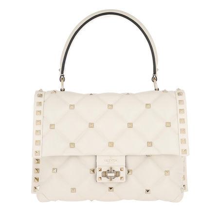 Valentino  Satchel Bag  -  Candystud Shoulder Bag Leather Light Ivory  - in weiß  -  Satchel Bag für Damen braun