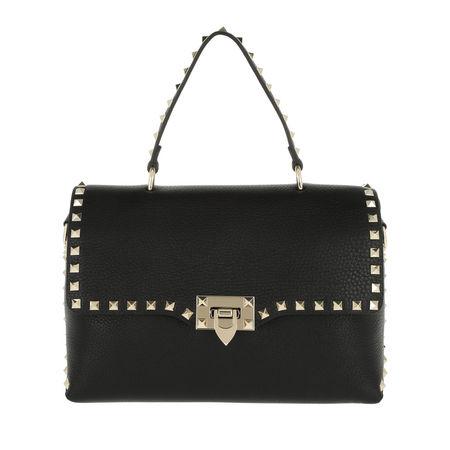 Valentino  Satchel Bag  -  Rockstud Shopper Leather Nero  - in schwarz  -  Satchel Bag für Damen schwarz