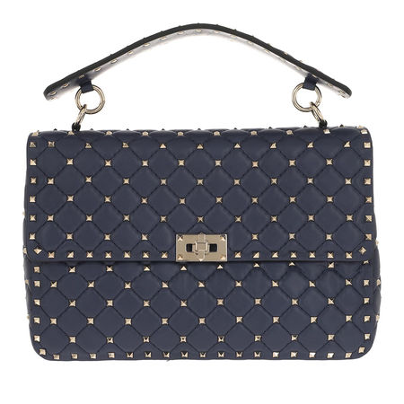 Valentino  Satchel Bag  -  Rockstud Spike Nappa Large Crossbody Bag Pure Blue  - in marine  -  Satchel Bag für Damen grau