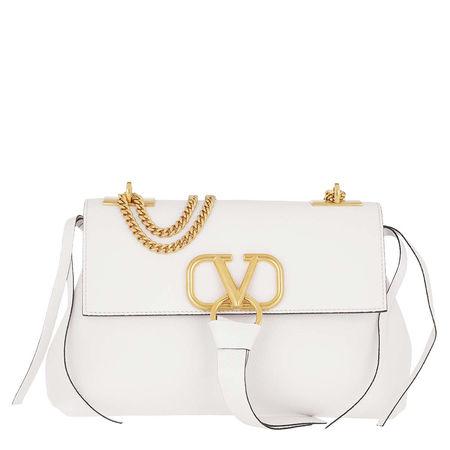 Valentino  Satchel Bag  -  V Crossbody Bag Leather White  - in weiß  -  Satchel Bag für Damen grau