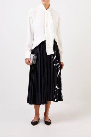 Valentino  - Seiden-Bluse mit Bindedetail Crème grau