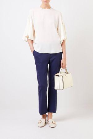 Valentino  - Seiden-Bluse mit weiten Ärmeln Crème grau