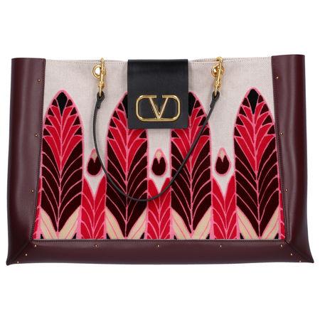 Valentino Shopper CITY SAFARI Canvas Kalbsleder Samt bordeaux braun