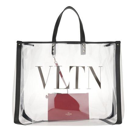 Valentino  Shopper  -  VLTN Plexy Shopping Bag PVC Transparent  - in schwarz  -  Shopper für Damen weiss